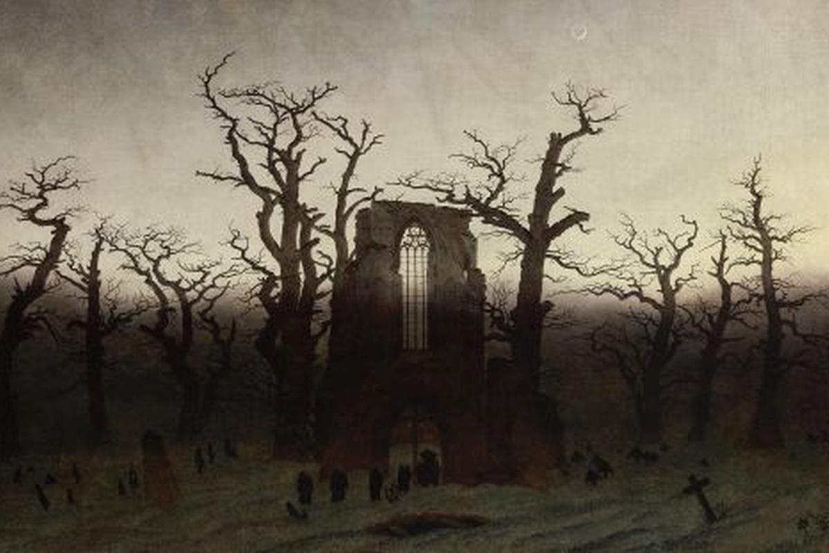 Kunstdruck Friedrich, Abtei im Eichenwald