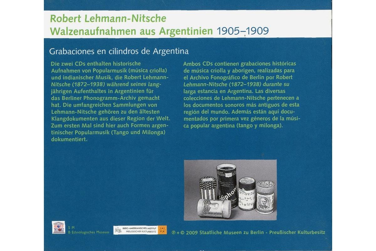 Robert Lehmann-Nitsche: Walzenaufnahmen aus Argentinien