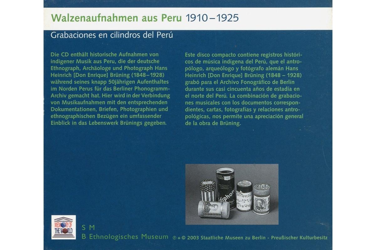 Walzenaufnahmen aus Peru / Grabaciones en cilindros del Perú (1910-1925)