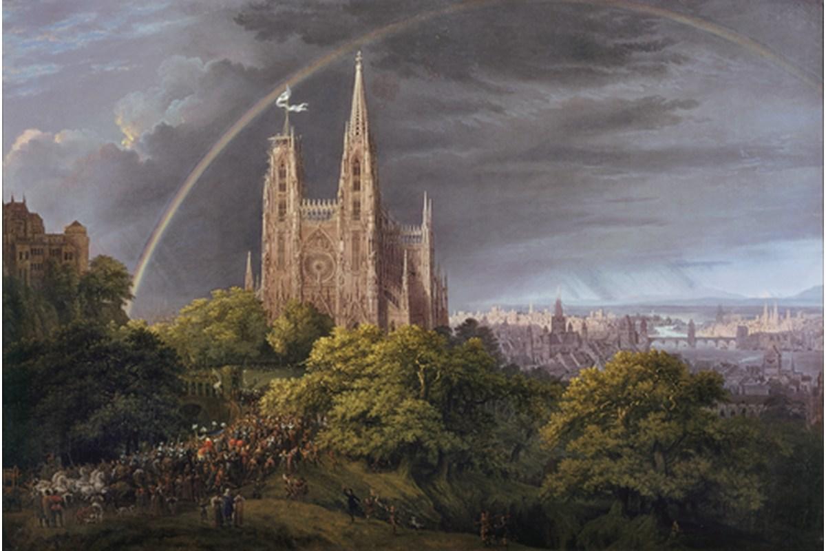 Kunstdruck Schinkel, Mittelalterliche Stadt an einem Fluß