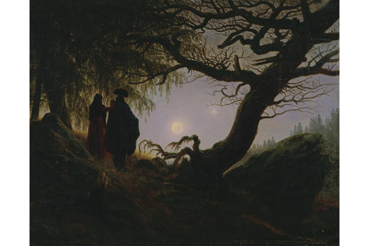 Kunstdruck Friedrich, Mann und Frau in Betrachtung des Mondes