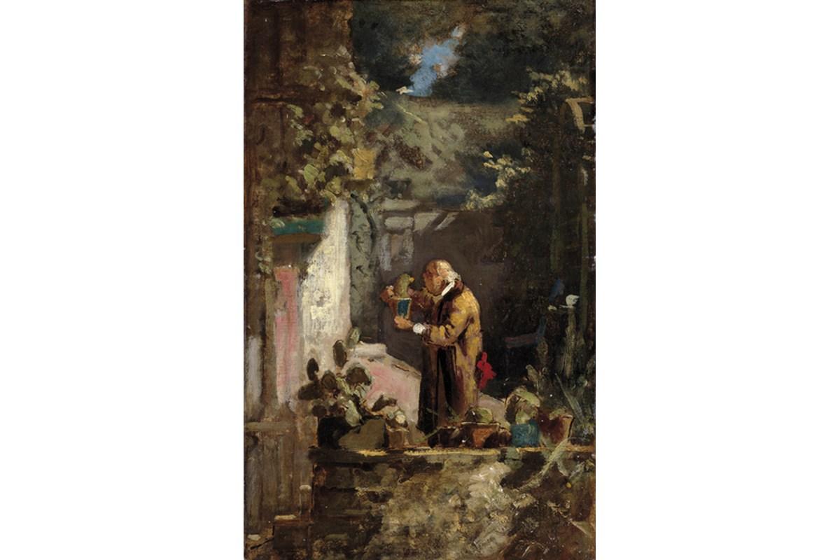 Kunstdruck Spitzweg, Der Pfarrer als Kakteenfreund