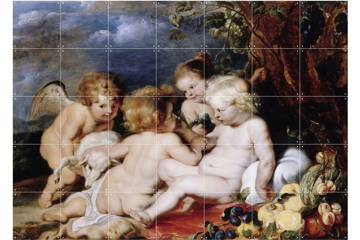 Wandbild Rubens (groß), Christus mit dem Johannesknaben und Engeln