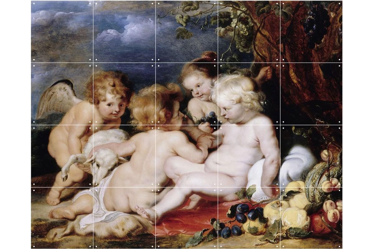 Wandbild Rubens (klein), Christus mit dem Johannesknaben und Engeln