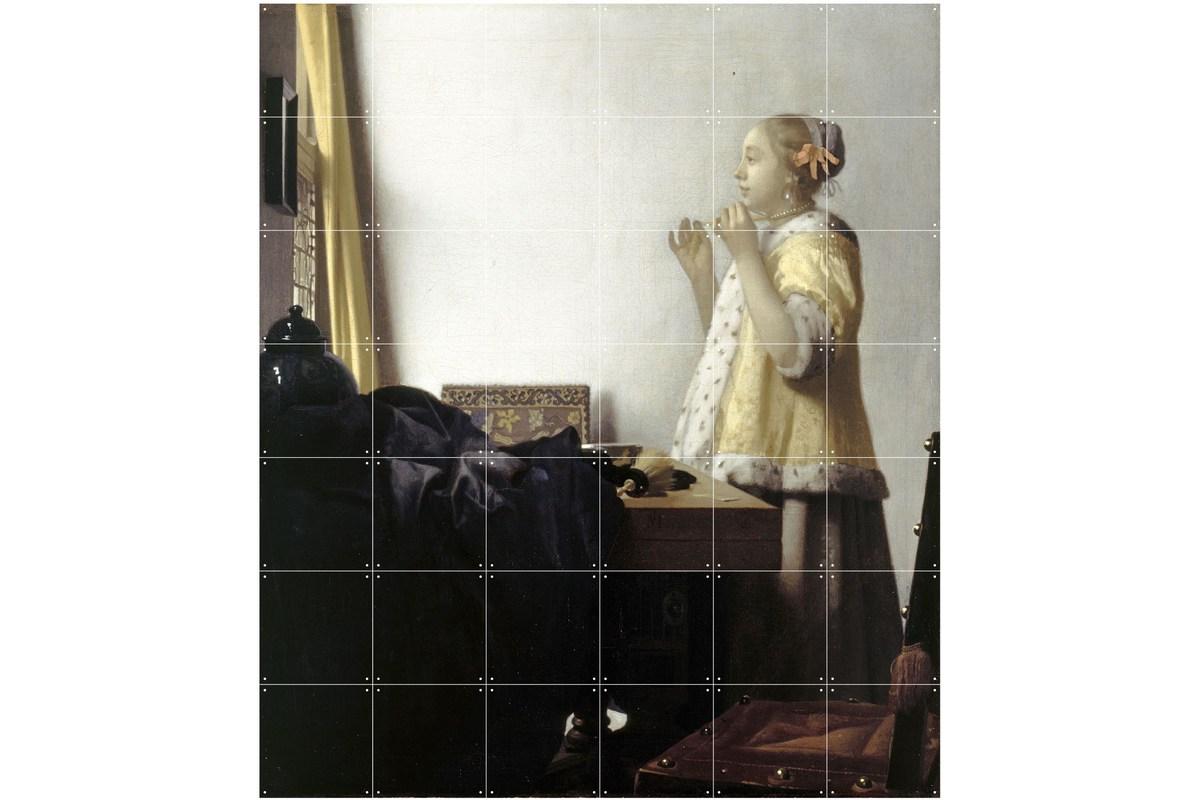 Wandbild Vermeer (groß), Junge Dame mit Perlenhalsband