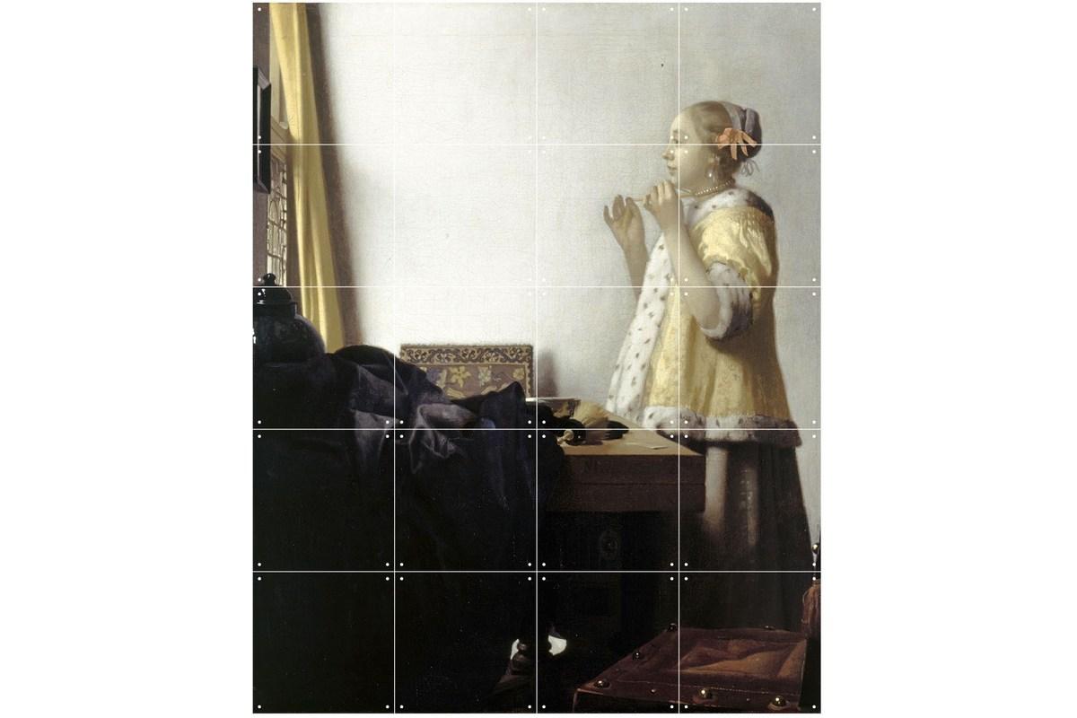 Wandbild Vermeer (klein), Junge Dame mit Perlenhalsband
