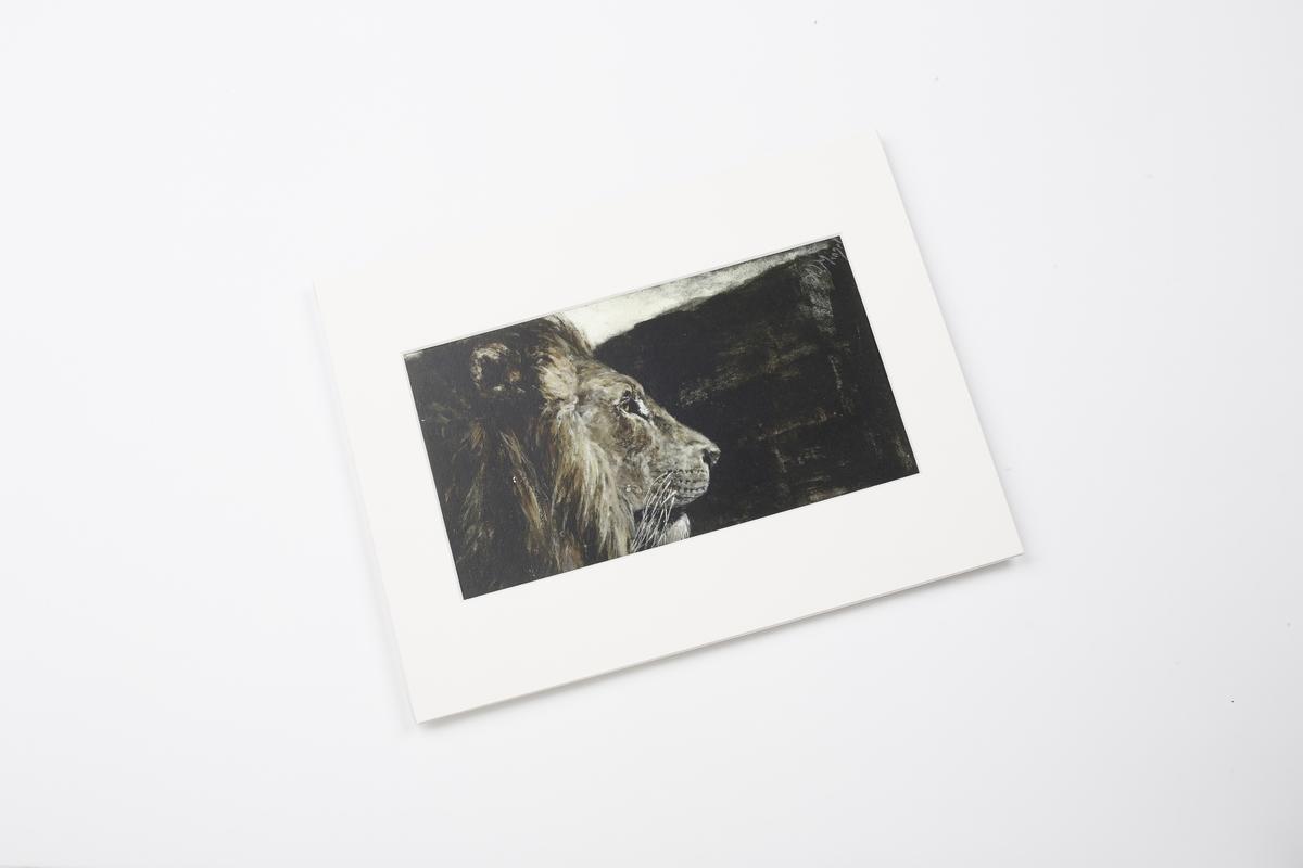 Miniprint in Passepartout: Menzel, Löwenkopf