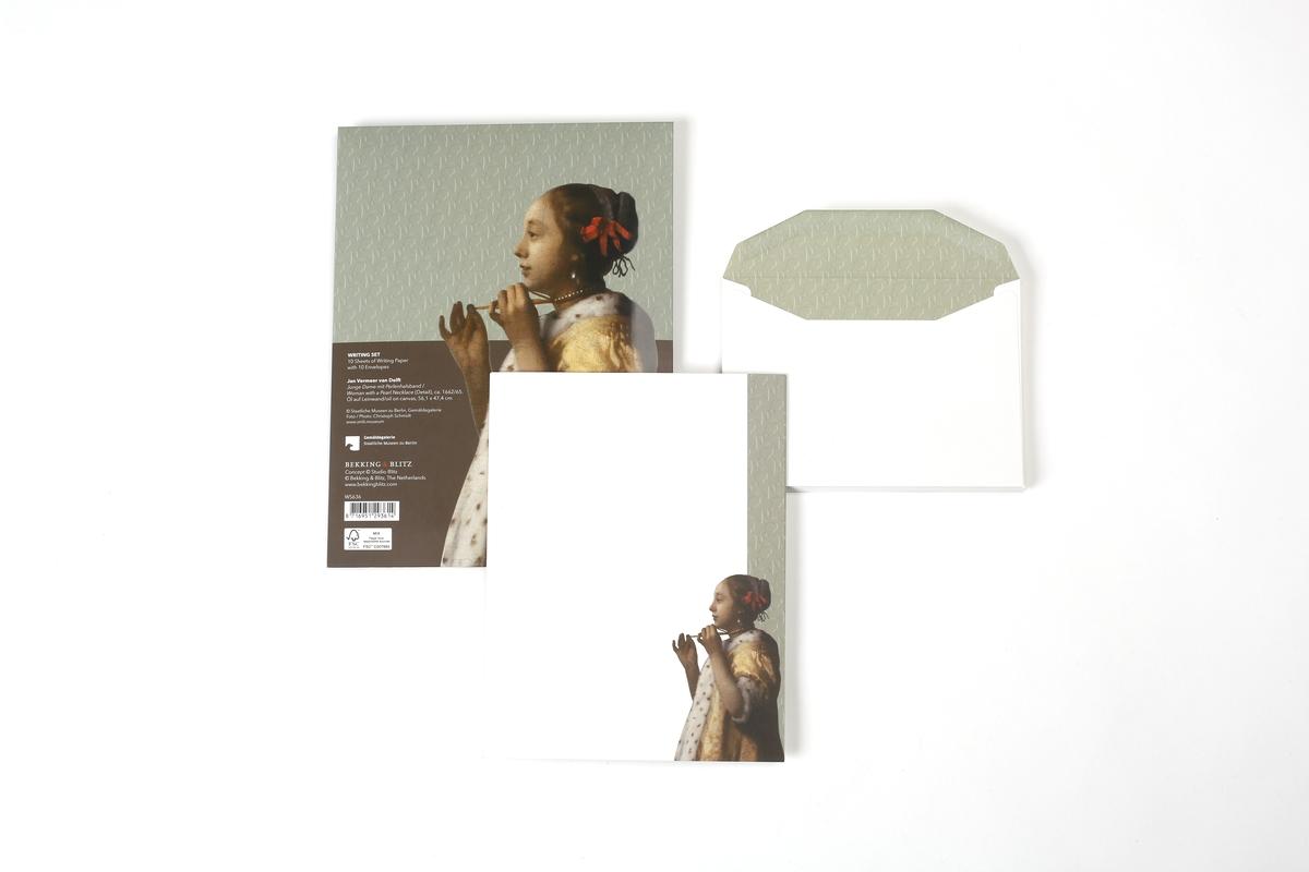 Briefpapier Vermeer, Junge Dame mit Perlenhalsband