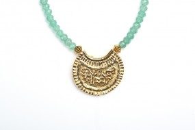 Replica: Pendant Crescent Moon small, green agate necklace