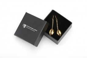 Earrings cowrie shell, gold plated