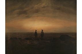 Kunstdruck Friedrich: Zwei Männer am Meer bei Mondaufgang